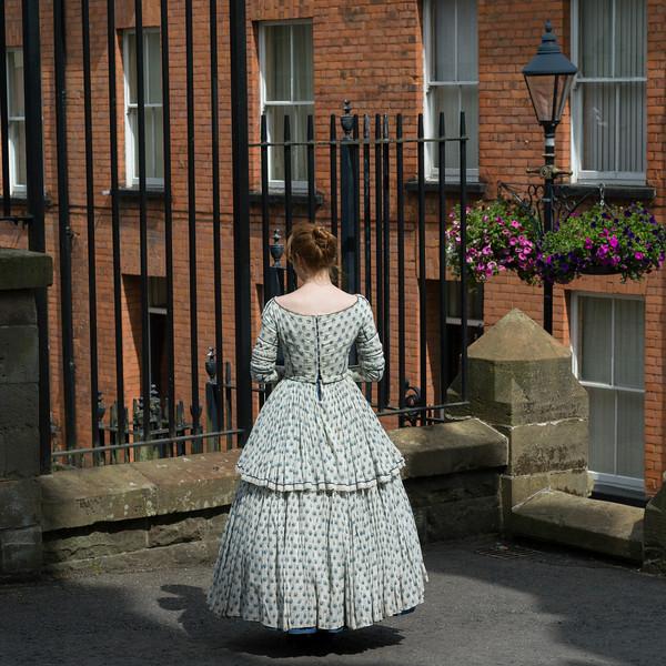 Rear view of Irish woman, Londonderry, Northern Ireland, United Kingdom