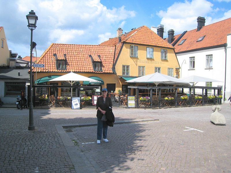 Cute cafe and cobblestone streets in Visby