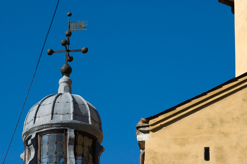 Detail of a cupola lantern and a typical Venetian wall, Venice, Italy