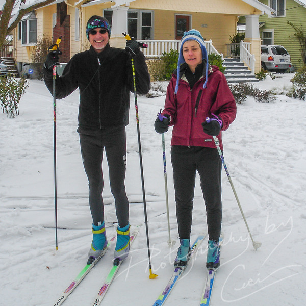 Terry and Susan cross country skiing on our street 2.jpg