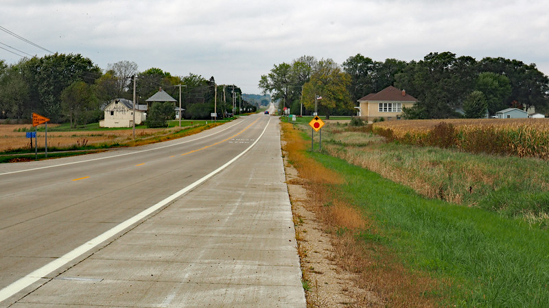 Approaching Salem Corners on CR-25. The township hall is on the right side of the road.