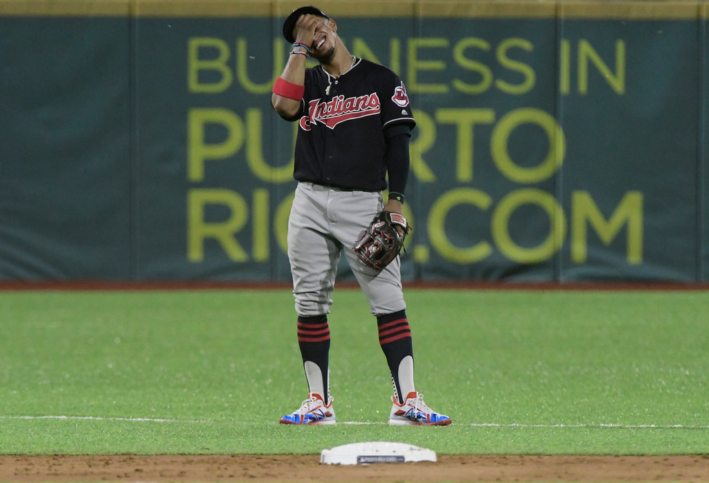 . Cleveland Indians\' infielder Francisco Lindor smiles in the fourth inning during the final game of a two-game Mayor League Series against the Minnesota Twins at the Hiram Bithorn Stadium in San Juan, Puerto Rico, Wednesday, April 18, 2018. (AP Photo/Carlos Giusti)