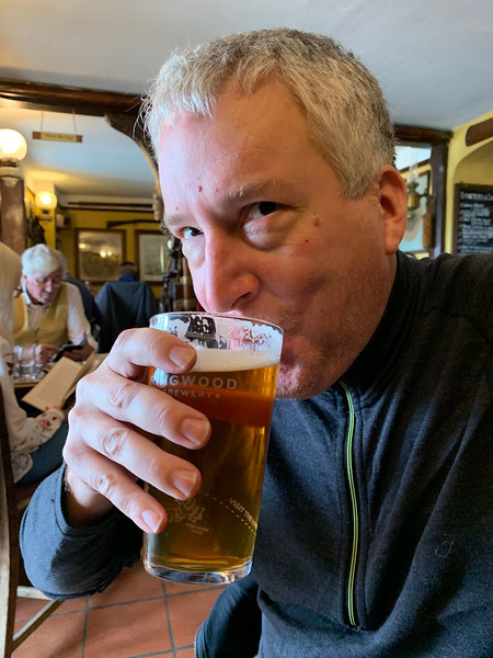 First pint in England. FINALLY SOMEONE WILL LET US BUY FOOD AND DRINK