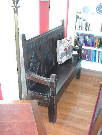 Library - Early 18th century carved oak deacon's bench