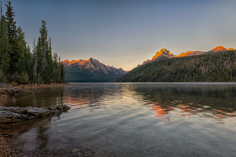 Sunrise at Redfish Lake