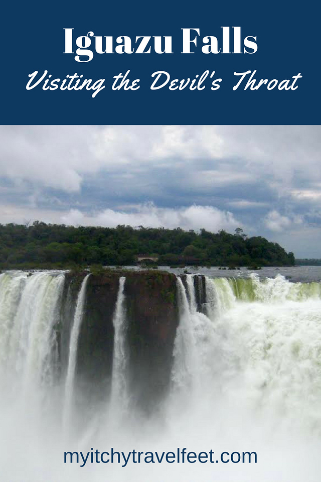 Text on photo: Iguazu Falls, Visiting the Devil's Throat. Photo: Iguazu Falls