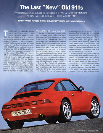 """The Last New Old 911s"" Article"