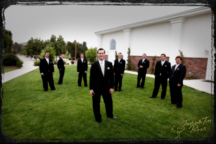 Tucker and his groomsmen pose outdoors for this photo at his church wedding in Temecula