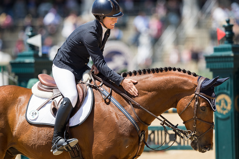 Kelly Prather & Truely Wiley in the stadium jumping at the Land Rover Ky. 3-Day Event.