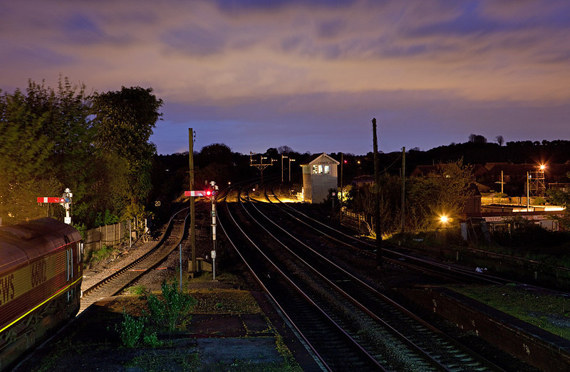 EWS 66012 with a coal train waits to be looped at Barnetby East signal box.