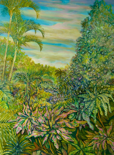 """©John Rachell  Title: The Garden, March 28, 2007 Image Size: 36"""" w by 48"""" d Dated: 2007 Medium and Support: Oil paint on canvas Signed: LR Signature"""