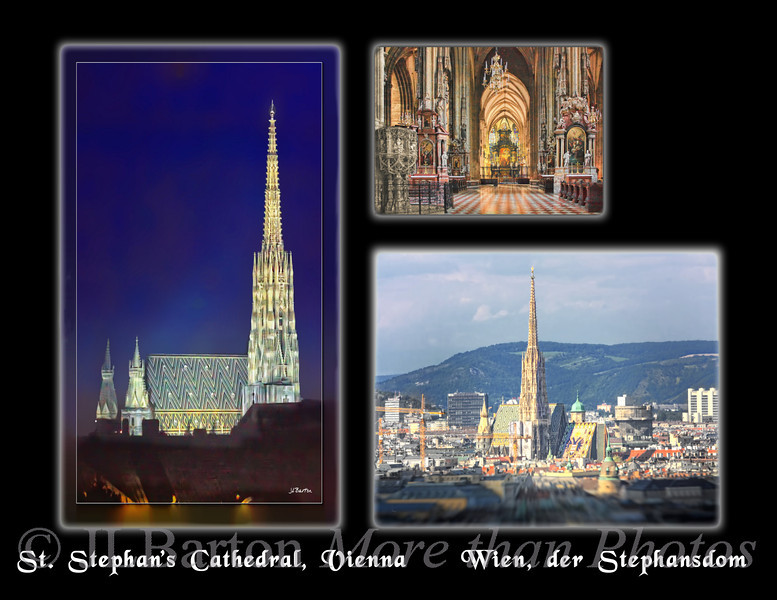 Calendar, page 1 2011-07-03  I'm starting to work on a 2012 calendar to sell in December.  So nothing new here except the layout.  These shots are, of course, of the St. Stephan's Cathedral at the center of Vienna.  The calendar pages are landscape (8.5x11 inches - using lulu.com, which I found via johnloguk), so I have to create layouts whenever I want to include portrait shots.  During most of July we will be travelling in the UK, including on a narrowboat on the English canals, so working on layouts will give me something to do in the evenings (no wireless in the canal boats).  Many thanks for the kind comments on yesterday's reflections.  Much appreciated.