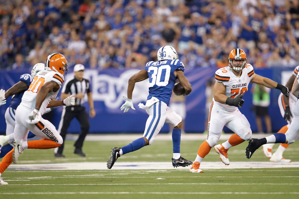 . Indianapolis Colts cornerback Rashaan Melvin (30) runs after an inception against the Cleveland Browns during the second half of an NFL football game in Indianapolis, Sunday, Sept. 24, 2017. (AP Photo/AJ Mast)