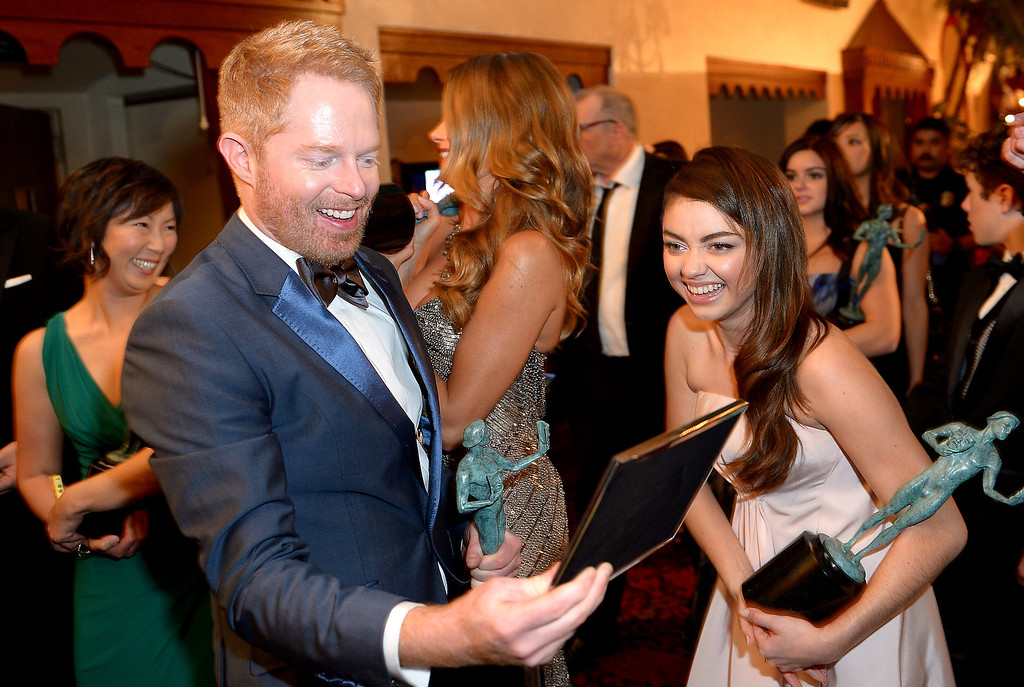 . Jesse Tyler Ferguson and Ariel Winter backstage at the 20th Annual Screen Actors Guild Awards  at the Shrine Auditorium in Los Angeles, California on Saturday January 18, 2014 (Photo by Michael Owen Baker / Los Angeles Daily News)