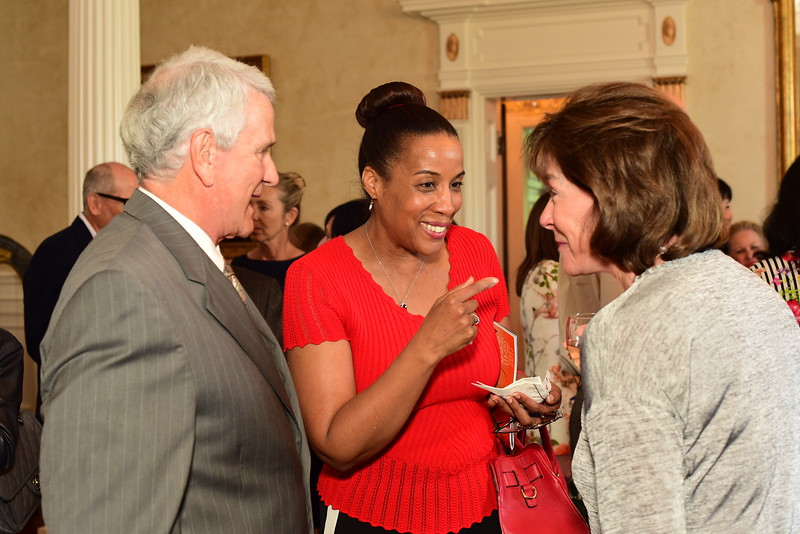 Phyllis Randal (middle) with Tom and Ann Rust, Cocktails at Selma Mansion, June 7, 2018, Nancy Milburn Kleck