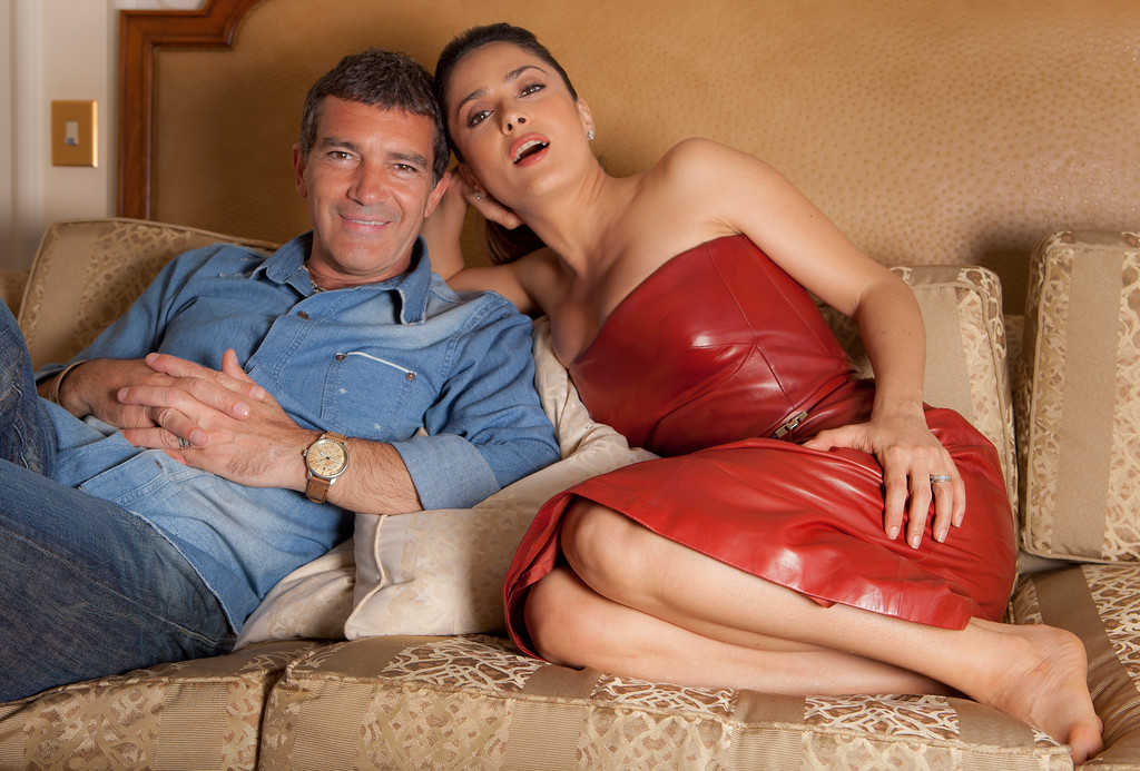 ". Actors Salma Hayek, right, and Antonio Banderas, of ""Puss in Boots\"", pose for a portrait at the 64th international film festival, in Cannes, southern France, Wednesday, May 11, 2011. (AP Photo/Joel Ryan)"