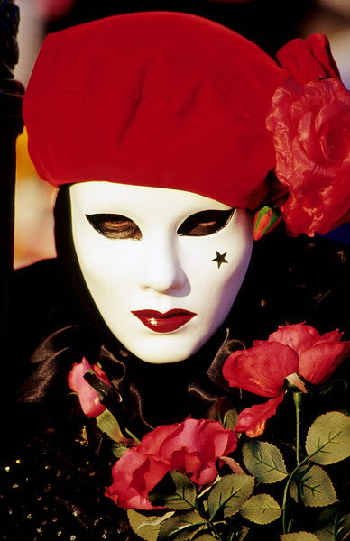 Carnival Mask with Red Roses, Venice (Italy)