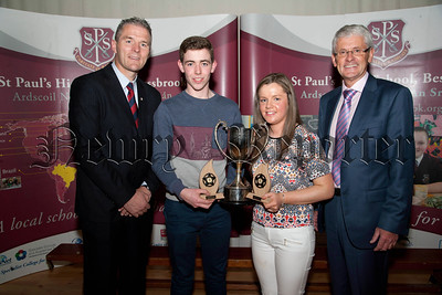 St Paul's High School Bessbrook, Senior Prizegiving on Thursday last.Pictured are students who received  Awards for Outstanding Academic Excellence at  A level, Barra Mc Ateer, Aoife Malone ,with Principle Mr Jarlath Burns, Mr John Campbell,Chairman of Governors.R1438711