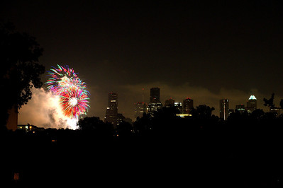 July 4th Fireworks & Houston Skyline