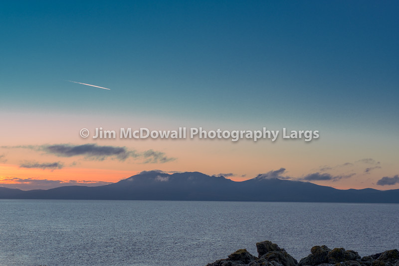 Sun Going Down Behind a Hazy Misty Arran