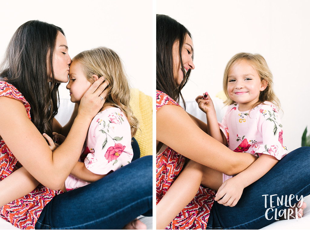 Playful lifestyle portraits of mother and daughter doing each other's makeup in studio. Commercial photography by Tenley Clark.