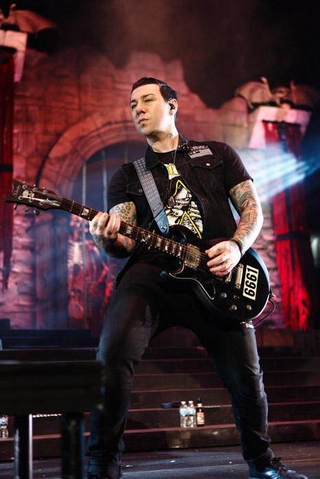 . Zacky Vengeance of Avenged Sevenfold at Joe Louis Arena. Photo by Ken Settle