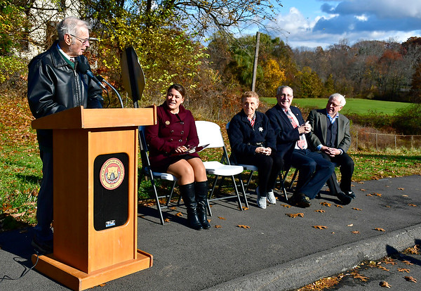 11/10/2018 Mike Orazzi   Staff Former Mayor William J. McNamara during a dedication ceremony on Saturday to mark the naming of the entrance of Pulaski Middle School in his Saturday morning.