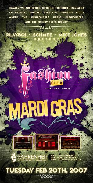 Fashion Club Mardi Gras edition @ Fahrenheit 2.30.07