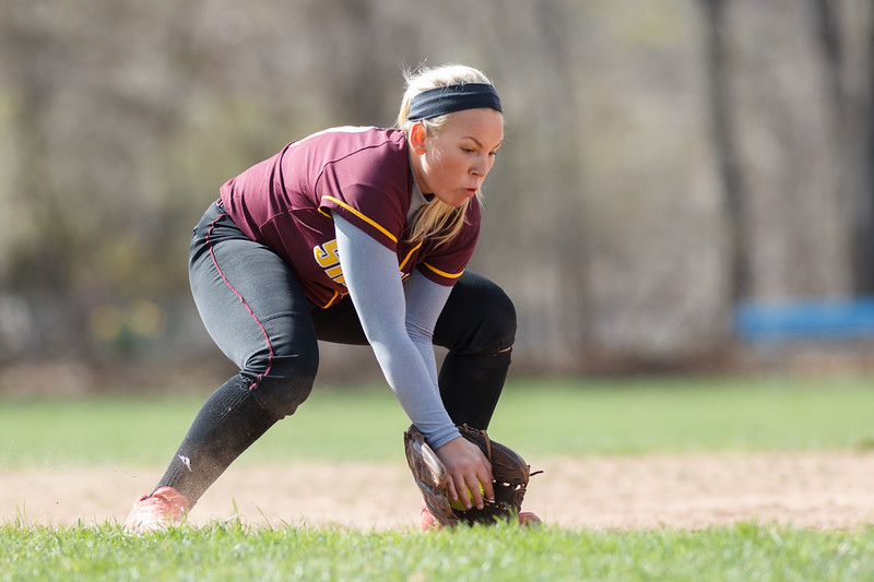 Sheehan's Becca Souza (13) fields a grounder from Lyman Hall's Sami Forster (2) Monday at Lyman Hall High School in Wallingford  Apr. 27, 2015 | Justin Weekes / For the Record-Journal