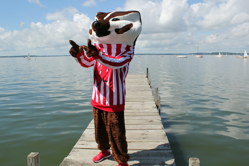Bucky Badger on CFL pier - giving everyone the big W sign!!
