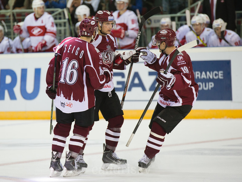 Players of Dinamo Riga celebrate the goal