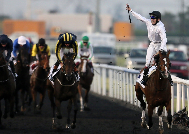 . Irish jockey Jamie Spenser (R) celebrates on Toast of New York after winning the UAE Derby race held on Dubai World Cup day on March 29, 2014 at Meydan racecourse in Dubai. A cosmopolitan gathering of horses from seven different countries contest the US$10 million Emirates Dubai World Cup at Meydan racecourse. (KARIM SAHIB/AFP/Getty Images)