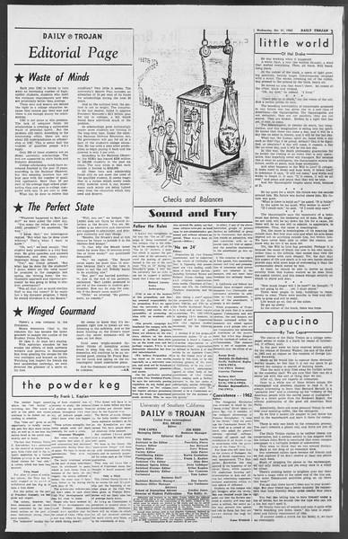 Daily Trojan, Vol. 54, No. 27, October 31, 1962