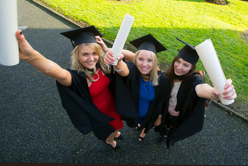 06/01/2015. FREE TO USE IMAGE. WIT (Waterford Institute of Technology) Conferring, Pictured Kate O'Donoghue, Ballincollig, Cork, Maria Healy, Middelton, Co. Cork, Sinead O'Shea, Youghal, Co. Cork  who graduated Bachelor of Science (Hons) in General Nursing. Picture: Patrick Browne
