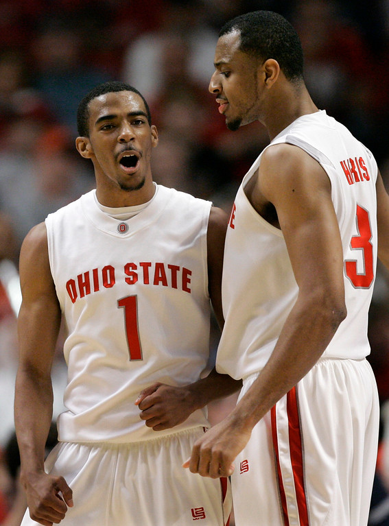 . Ohio State guard Mike Conley Jr. (1) celebrates with teammate Ivan Harris after scoring during the second half of the Big Ten Tournament championship basketball game against Wisconsin in Chicago, Sunday, March 11, 2007.  (AP Photo/Brian Kersey)