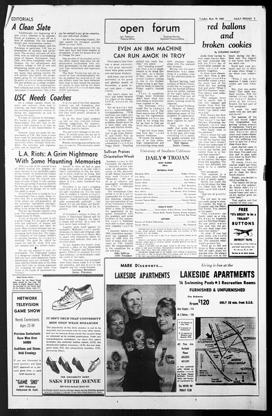 Daily Trojan, Vol. 57, No. 2, September 21, 1965