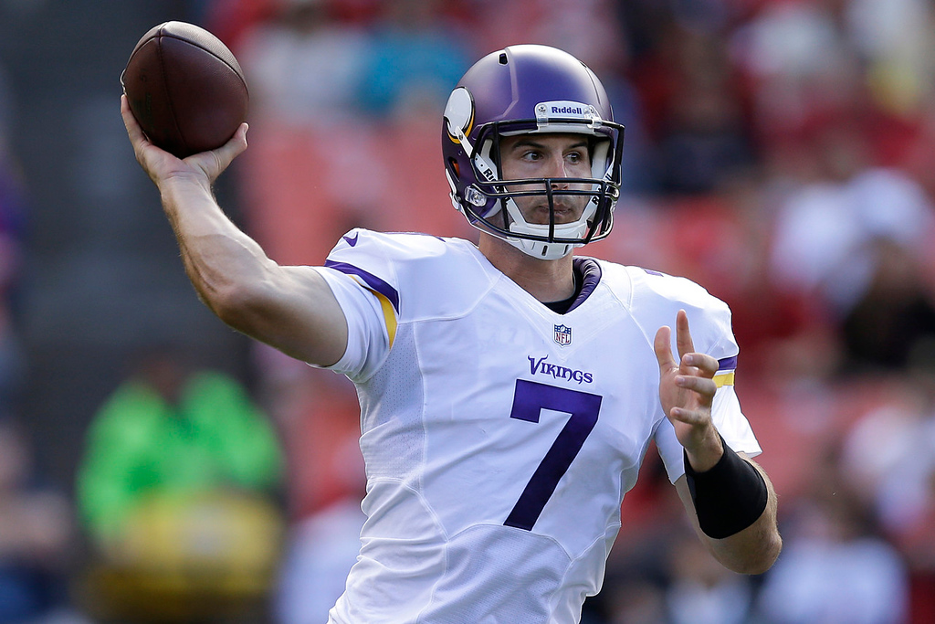 . Vikings quarterback Christian Ponder passes against the 49ers during the first quarter. (AP Photo/Ben Margot)