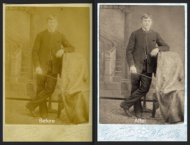Hans Larson had his photo made in Veroqua Wisconsin. More than a century later his great granddaughter still treasures his photo.   #FtLauderdalePhotoRestoration  #PhotoRestoration #PhotoRepair  #OldPhotoRestoration  #BeforeAndAfter #retouch  #retoucher #SouthFloridaPhotoRestoration #OldPhotos #FamilyTree  #VintagePhotos #SaveOldPhotos  #CandaceWestPhotoRestoration #SavingYesterday