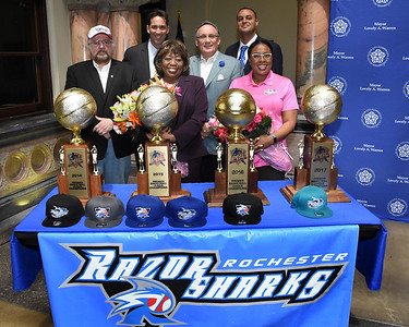 Officials honor victorious RazorSharks at City Hall. 5/24/2017