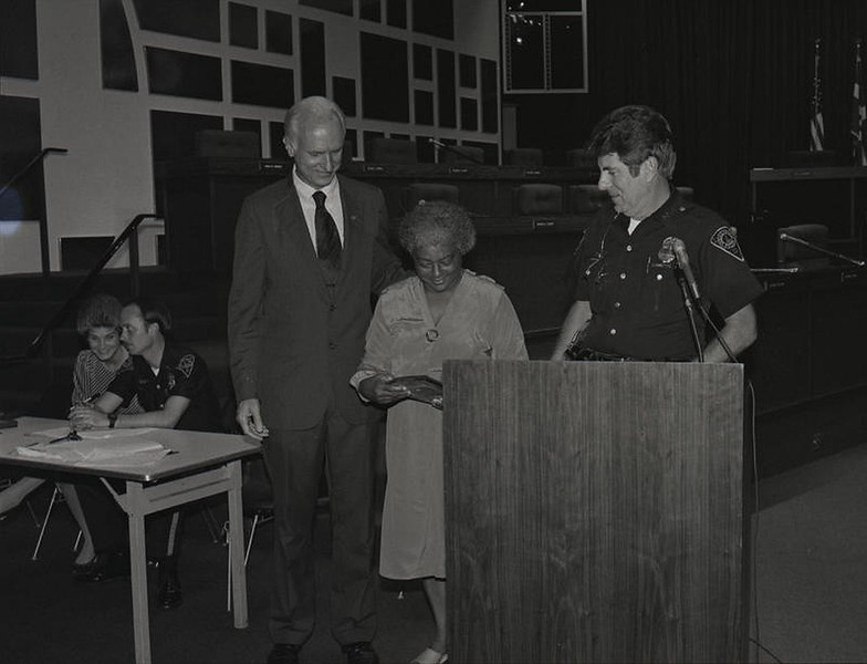 Mayor Hudnut at IPD Quarterly Awards, September 15, 1983, Img. 4, with Joseph McAtee