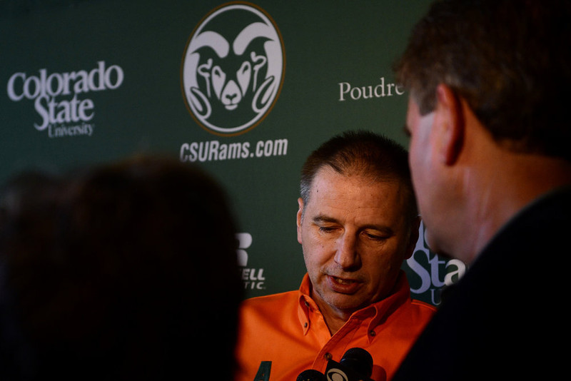 . CSU head coach Larry Eustachy speaks with the media during the NCAA tournament selection show. The Rams earned an eight seed and will play ninth-seeded Missouri in the second round. (Photo by AAron Ontiveroz/The Denver Post)