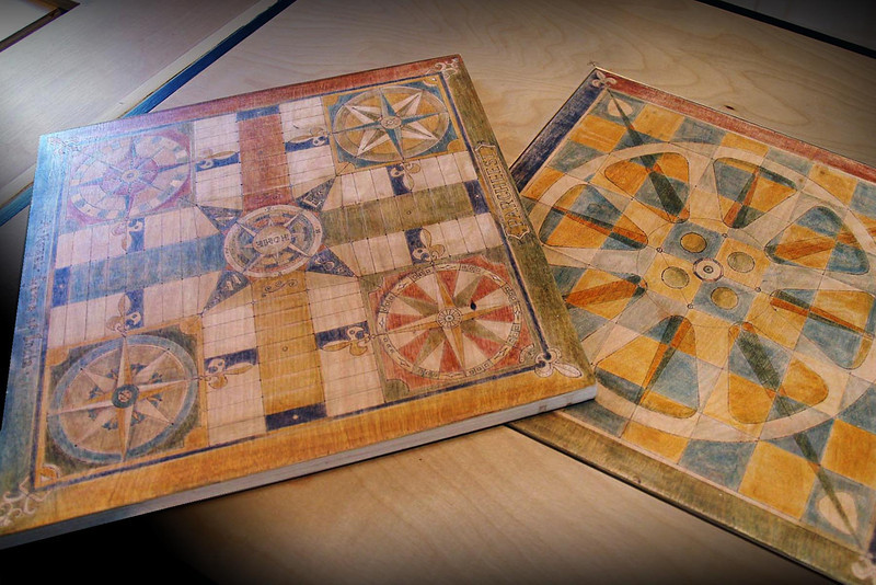 vintage wood burned stained game boards.jpg