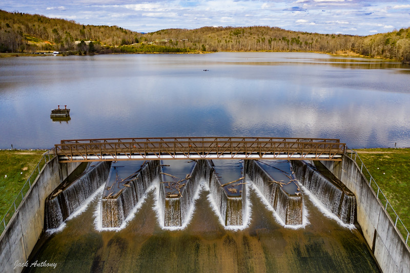 The dam at Zwerner Lake in Dahlonega, Ga.