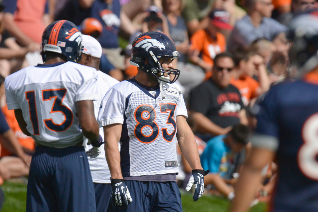 . Denver Broncos WR Wes Welker (83) looks on during opening day of training camp July 25, 2013 at Dove Valley. (Photo By John Leyba/The Denver Post)