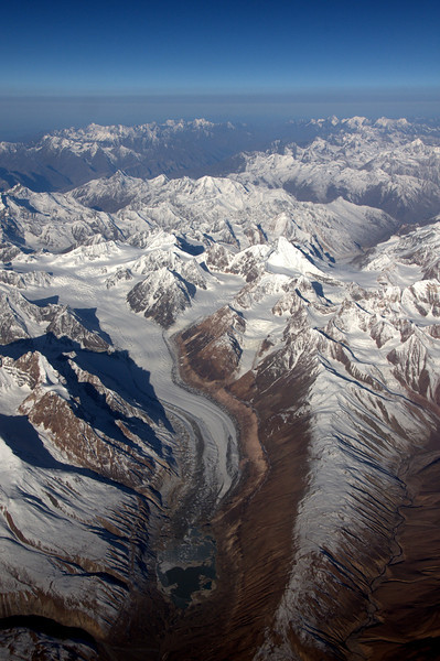 Flying over the Himalayas from Delhi to Ladakh