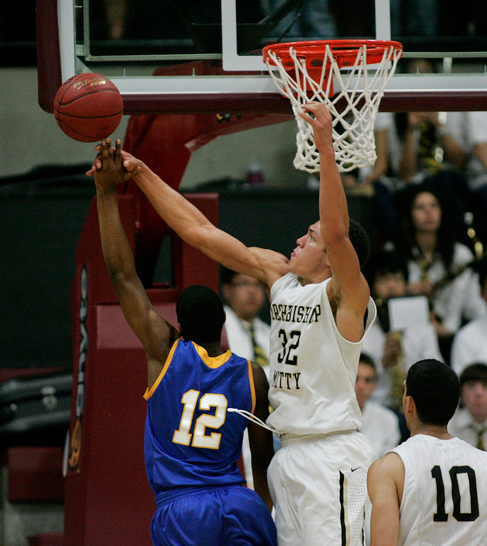 . Mitty\'s Aaron Gordon blocks a shot by Serra\'s Jeramey Fields in the second quarter during the CCS Open Division boys basketball finals at Santa Clara University in Santa Clara, Calif. on Saturday, March 2, 2013. The Archbishop Mitty Monarchs played the Serra Padres. (Jim Gensheimer/Staff)