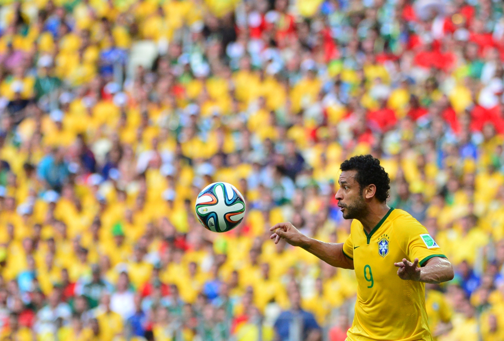 . Brazil\'s forward Fred prepares to control the ball during a Group A football match between Brazil and Mexico in the Castelao Stadium in Fortaleza during the 2014 FIFA World Cup on June 17, 2014.  (YURI CORTEZ/AFP/Getty Images)