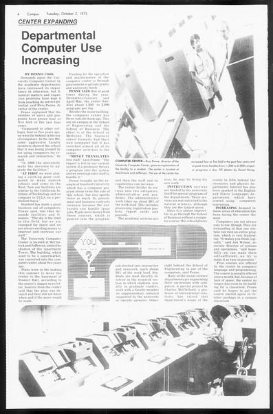 Daily Trojan, Vol. 66, No. 12, October 02, 1973