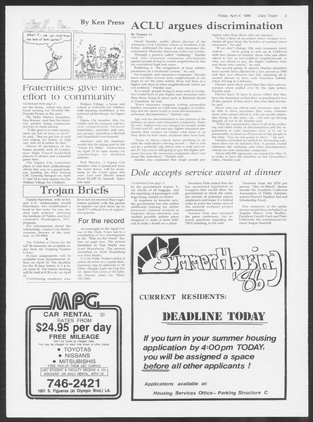 Daily Trojan, Vol. 100, No. 53, April 04, 1986