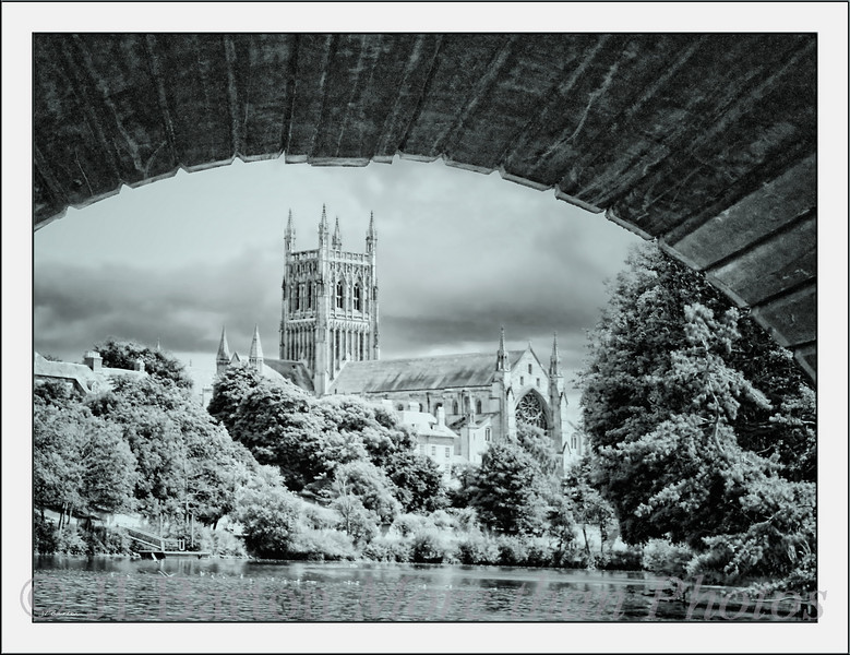 Worcester Cathedral from under the 1781 Road Bridge across the Severn England